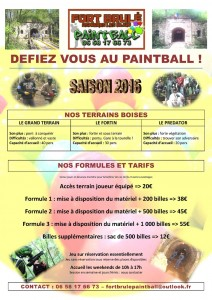 Fort Brulé paintball Dijon Tarifs